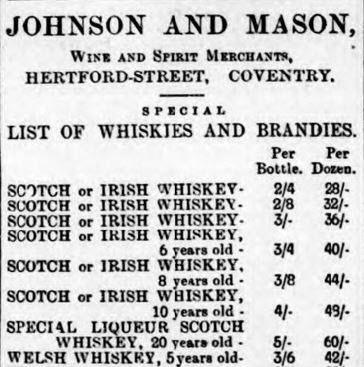 Welsh, Scottish and Irish whiskies for sale, 1900