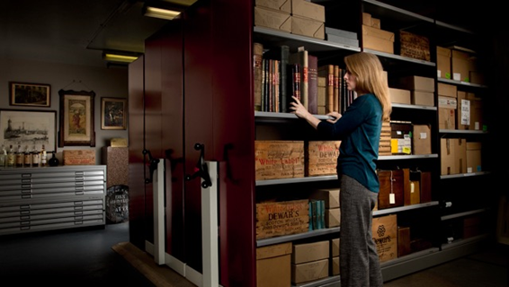Jacqui Seargeant, Bacardi's global heritage manager, in the Dewar's Archive