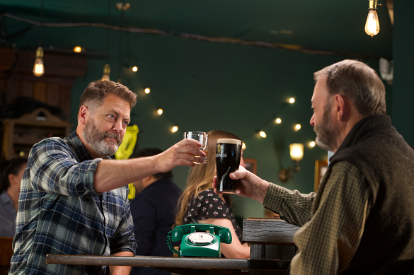 Nick Offerman, aka Ron Swanson, promoting Lagavulin's new Guinness-cask finished edition with his dad for Father's Day