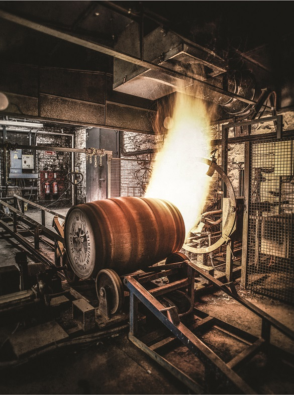 Firing a barrel at a cooperage. Courtesy of Loch Lomond Group