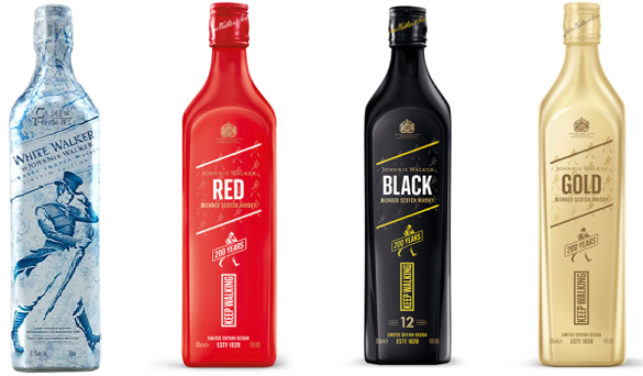 'A fashion-inspired, limited edition design': Johnnie Walker's 200th anniversary styling for red, black and gold, next to last year's White Walker