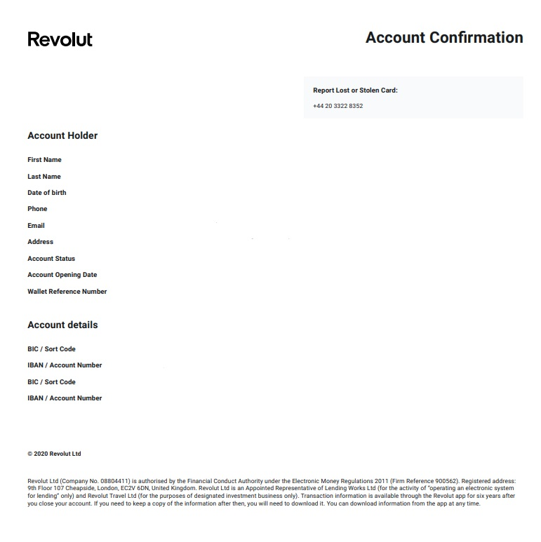 Revolut Account Confirmation Document