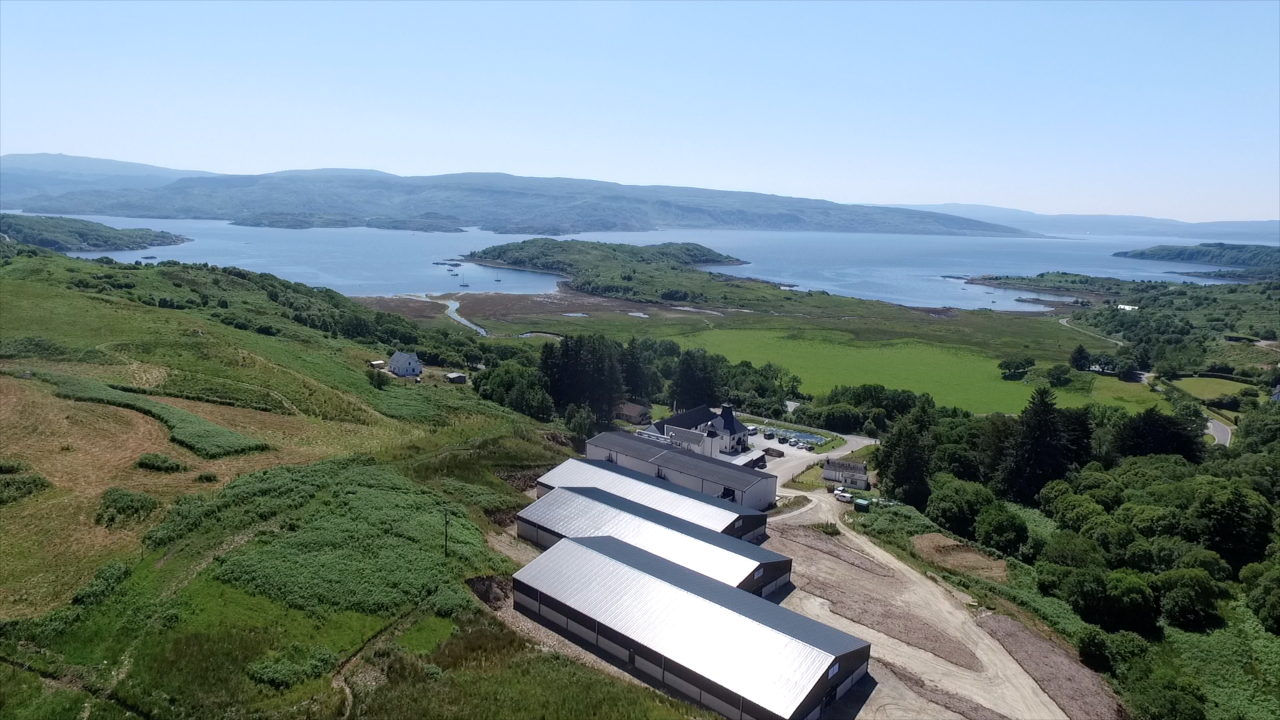 Ardnamurchan whisky distillery from the skies