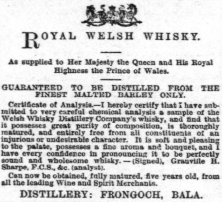 Royal Welsh Whisky Advert, 1896